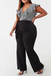 Plus Size Flounce Surplice Combo Jumpsuit