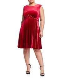 Plus Size Side-Tie Stretch Velvet Fit & Flare Dress
