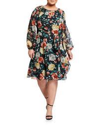 Plus Size Long-Sleeve Printed Clip Dot Floral Dress