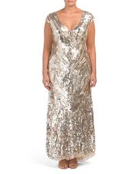 Plus V-neck All Over Sequins Gown