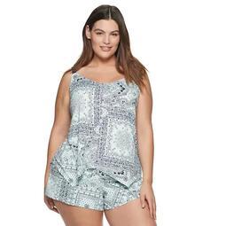 Plus Size Women's Apt. 9® Handkerchief Hem Print 2-Piece Cami & Short Set