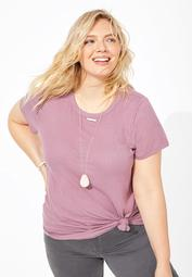 plus size 24/7 solid ribbed crew neck tee