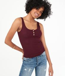 Seriously Soft Henley Bodycon Tank***