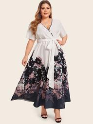Plus Floral Print Tie Front Wrap Dress