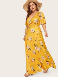 Plus Floral Print Wrap Tie Side Maxi Dress