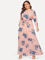 Plus Floral Print Self-tie Waist Dress