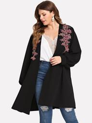 Plus Floral Embroidery Cardigan
