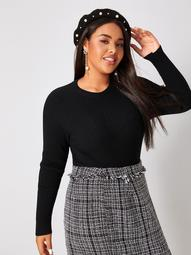 Plus Solid Round Neck Fitted Sweater
