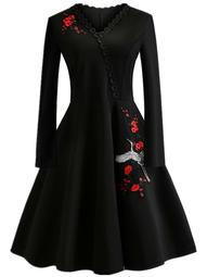 Plus Floral & Animal Embroidery Patched Flare Dress