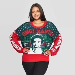 Women's Elf OMG Santa Plus Size Ugly Holiday Graphic Sweater (Juniors') - Red/Green