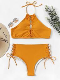 Plus Lace-up Halter Top With Side Tie Bikini Set