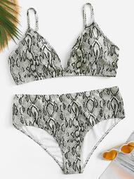 Plus Snake Print High Waist Bikini Set