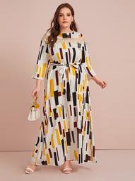 Plus Mesh Insert Applique Detail Geo Belted Dress