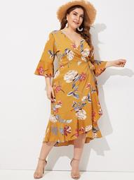 Plus Floral Print Ruffle Hem Wrap Dress