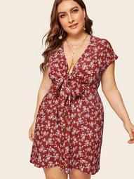 Plus Tie Front Button Through Ditsy Floral Dress