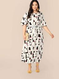 Plus Flutter Sleeve Self Belted Geo Maxi Dress