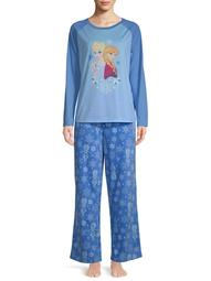 Disney Matching Family Christmas Pajamas Women's and Women's Plus 2-Piece Frozen Sleep Set