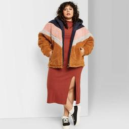 Women's Plus Size Zip-Up Colorblocked Hooded Sherpa Jacket - Wild Fable™ Rust/Rose/Navy