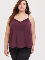 Sophie - Purple Wine Embroidered Double Layer Swing Cami
