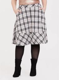 Multi Plaid Double-Knit Midi Skirt
