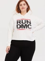Run-DMC White Crop Hoodie