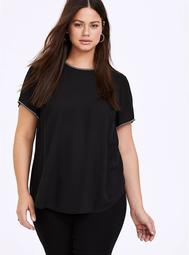 Abbey - Black Georgette Embellished Trim Blouse