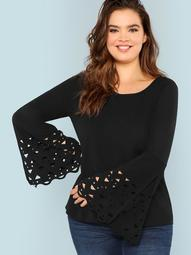 Plus Cut Out Bell Sleeve Solid Tee