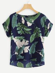 Plus Tropical Print Dip Hem Blouse