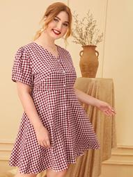 Plus Button Front Gingham Dress