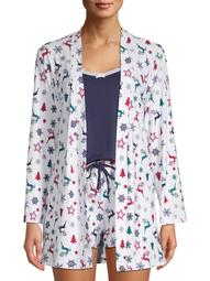 Be Yourself Womens and Womens Plus Size Printed Lush Robe, 3-Pc. Set