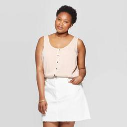 Women's Plus Size Round Neck Button Front Knit Woven Tank Top - Universal Thread™