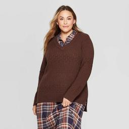 Women's Plus Size V-Neck Textured Pullover Sweater - Universal Thread™
