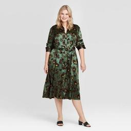 Women's Plus Size Long Sleeve Collared Silky Midi Shirtdress - Who What Wear™