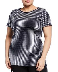 Plus Size High-Low Checkered Top