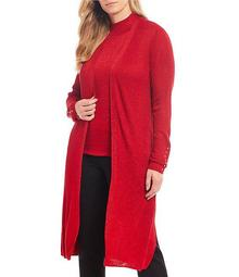 Plus Size Long Sleeve Ribbed Luster Cardigan