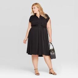 Women's Plus Size Short Sleeve Collared Shirtdress - Ava & Viv™