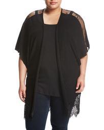 Lace-Inset Dolman-Sleeve Cardigan, Black