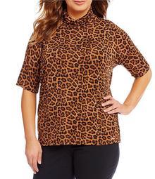 Plus Leopard Print Knit Jersey Short Sleeve Turtleneck Top