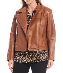 Plus Size Genuine Leather Moto Jacket
