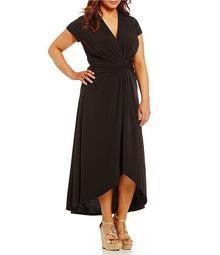 Plus Faux-Wrap Style V-Neck Cap Sleeve Sash-Belt Hi-Low Dress