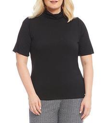 Plus Knit Jersey Short Sleeve Turtleneck Top