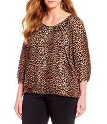 Plus Size Persian Leopard Print Knit Jersey Peasant Top