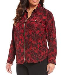 Plus Size Floral Print Pebble Crepe Roll-Tab Sleeve Zip Front Top
