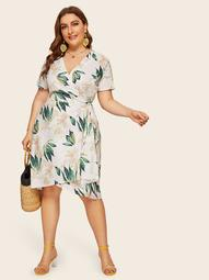 Plus Surplice Front Tie Side Floral Print Dress