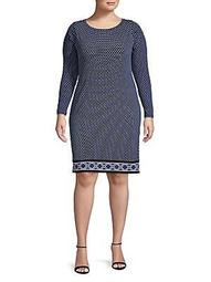 Long-Sleeve Dotted Shift Dress