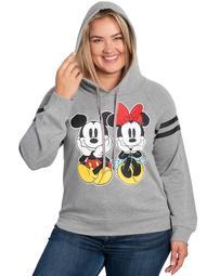 Disney Minnie Mickey Mouse Hoodie Woman's Sweatshirt Gray (Junior Plus)