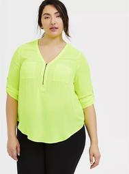 Harper - Neon Yellow Georgette Half-Zip Front Blouse