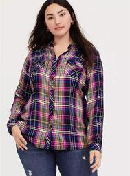 Taylor - Multi Plaid Twill Button Front Slim Fit Camp Shirt