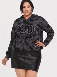 AC/DC Black Tie-Dye Crop Hoodie