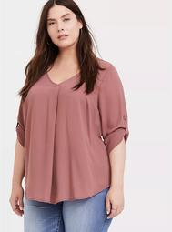 Harper - Walnut Georgette Pleated Pullover Blouse